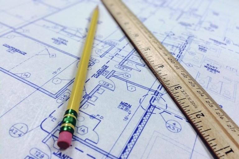 Progetto di architetto in primo piano