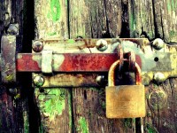 Padlocks on wooden door