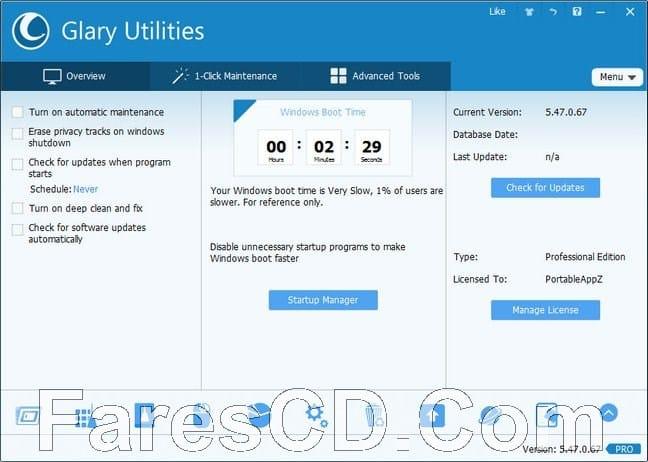 برنامج الصيانة و تسريع الويندوز : Glary Utilities Pro 5.128.0.153