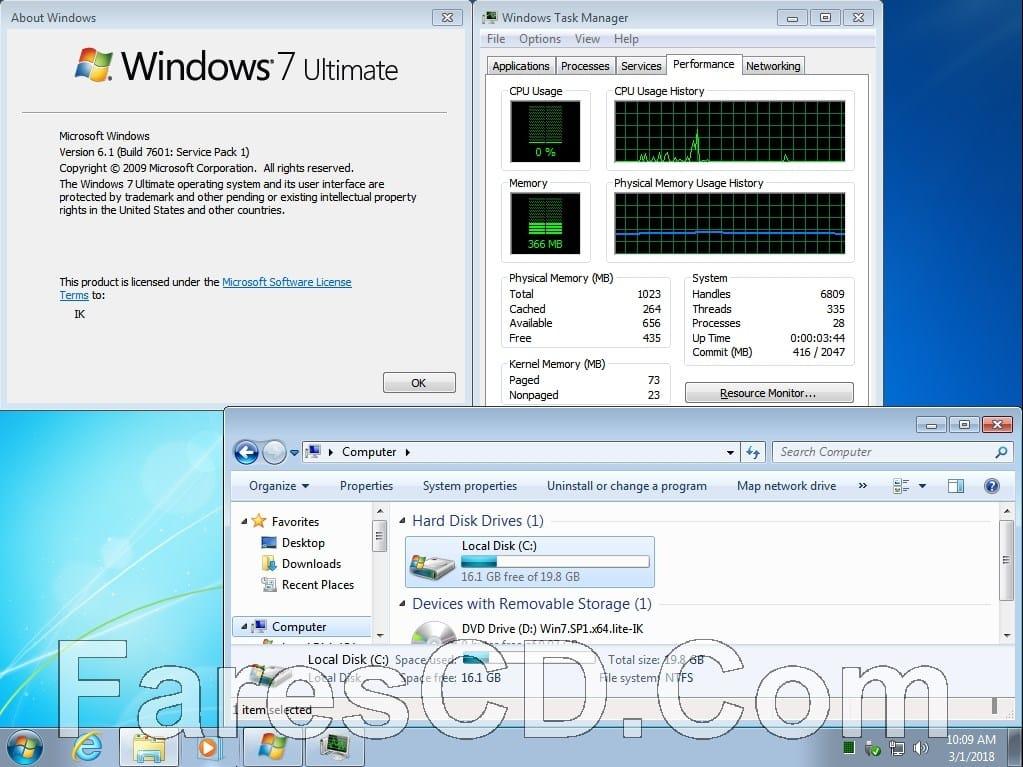 ويندوز سفن المخفف 2018 | Windows 7 Ultimate 2018 x64 Super Lite
