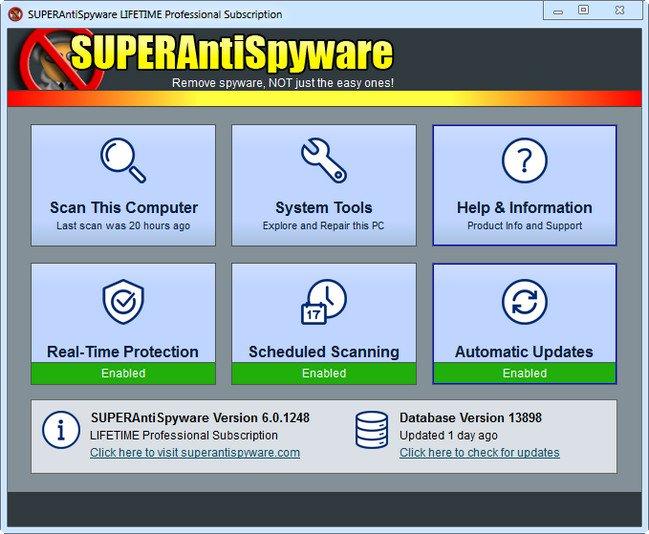 برنامج الحماية من التجسس | SUPERAntiSpyware Professional 6.0.1260