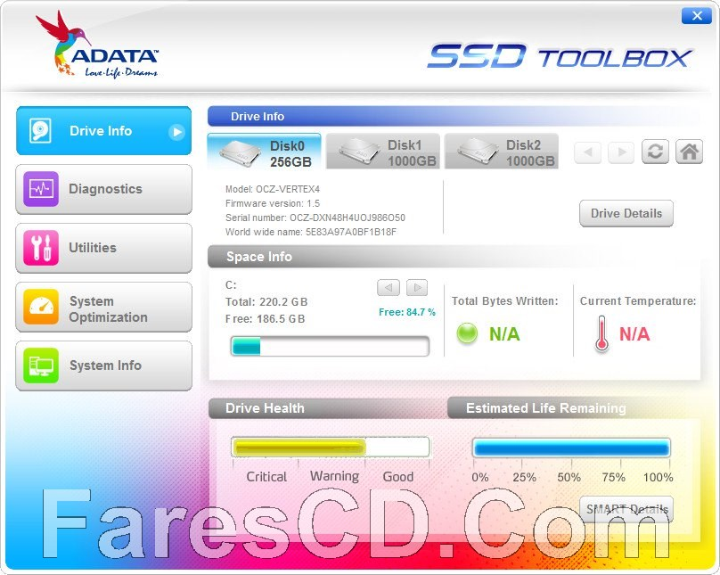 برنامج تحسين وإدارة هاردات إس إس دى   ADATA SSD ToolBox 3.0.10