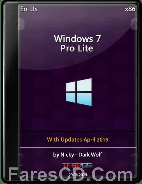 ويندوز سفن برو لايت   Windows 7 Pro Lite X86   ابريل 2019