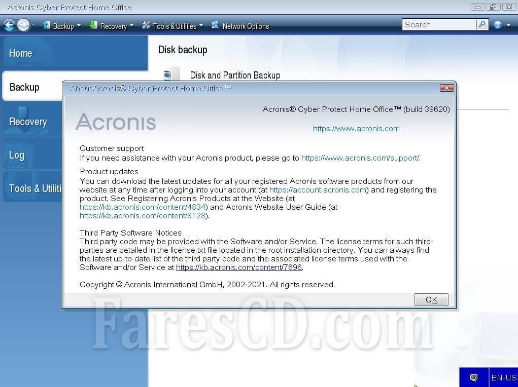 اسطوانة أكرونيس للحماية و النسخ الإحتياطى   Acronis Cyber Protect Home Office Bootable ISO