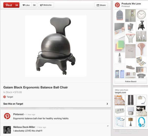 pin specifico per prodotti su Pinterest
