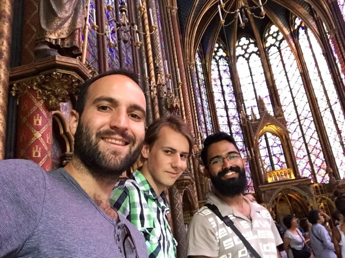 Juanjo, Leon & Nelson, at Sainte Chapelle, Paris. Gallery.