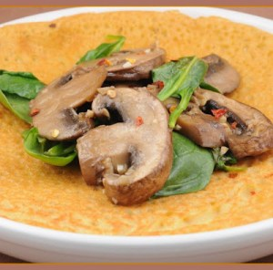 Chickpea flatbread with mushrooms (Farinata ai funghi)
