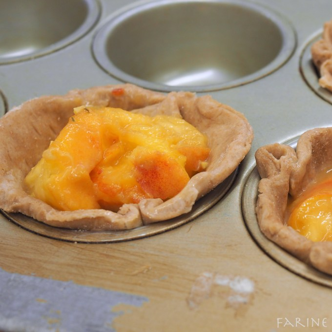 Peach filling in muffin pan