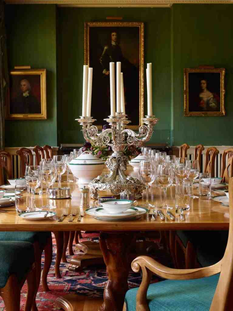 dining room with candelabra