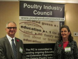 Tim Nelson CEO Poultry Industry Council with Susan Brumby in London, Ontario.