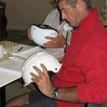Jo and Gerald examine helmets - Navarre