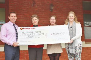 WDHS NCFH Western District Ball Committee Anna Brown and Steph Lamont handing over fundraising cheque