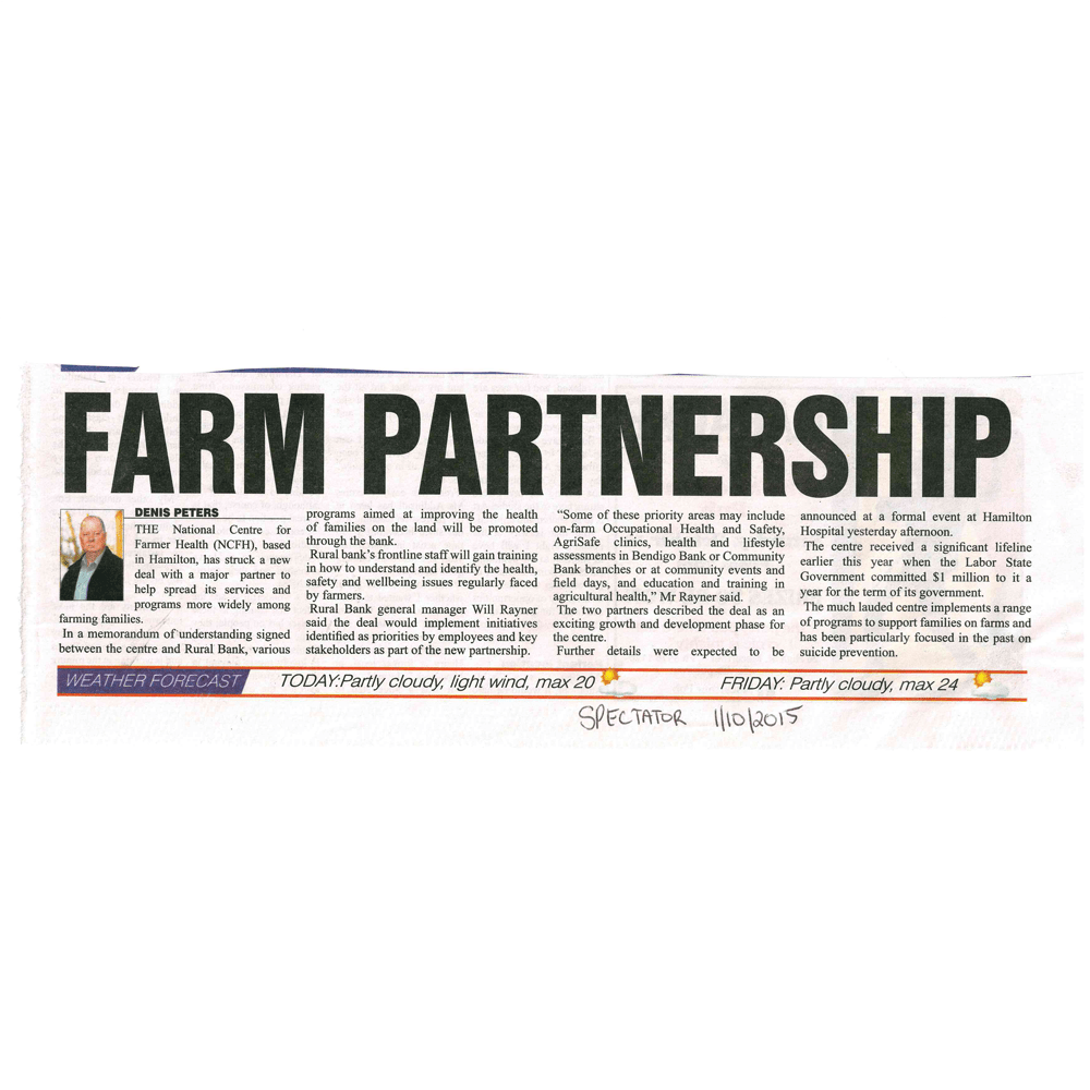 1st October 2015 - Farm Partnership - The Hamilton Spectator Article - National Centre for Farmer Health