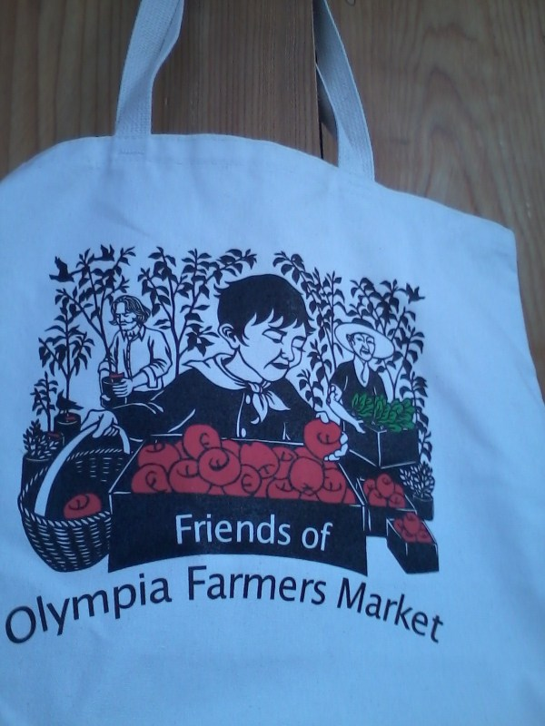 "cotton tote bag with cover image of to ""market to market"""