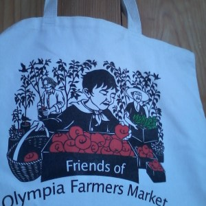 """cotton tote bag with cover image of to """"market to market"""""""