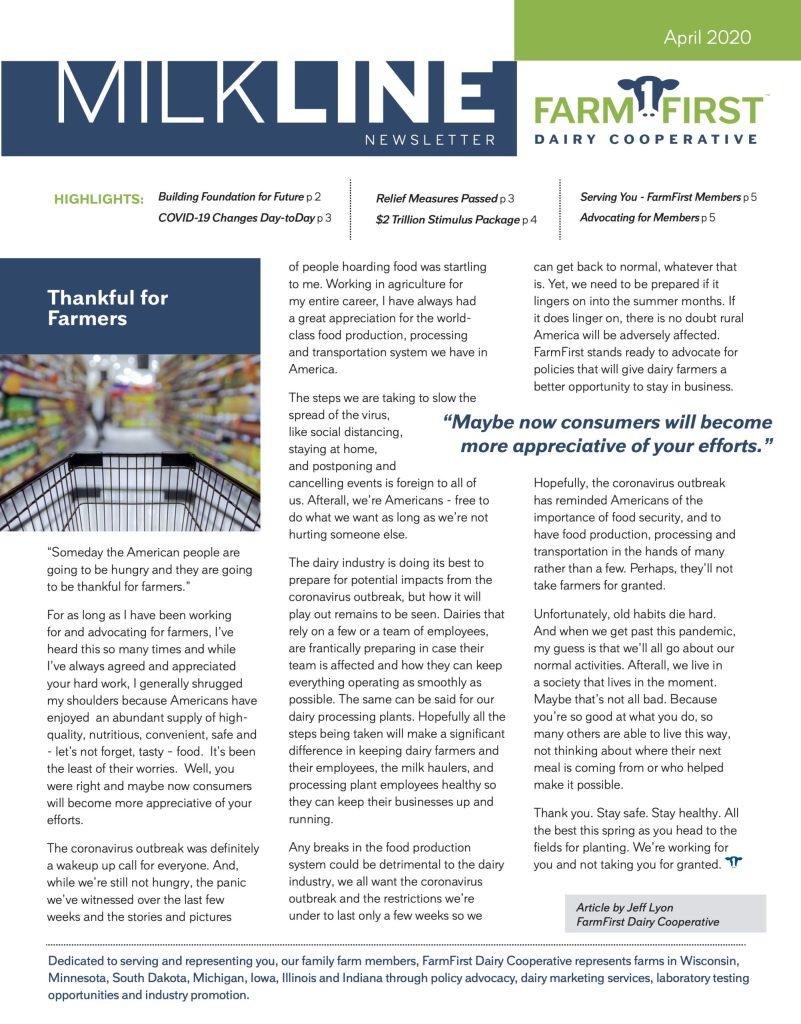 April 2020 MilkLine Newsletter