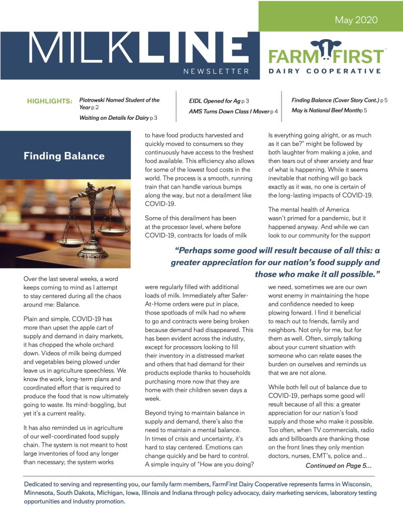 May 2020 MilkLine Newsletter