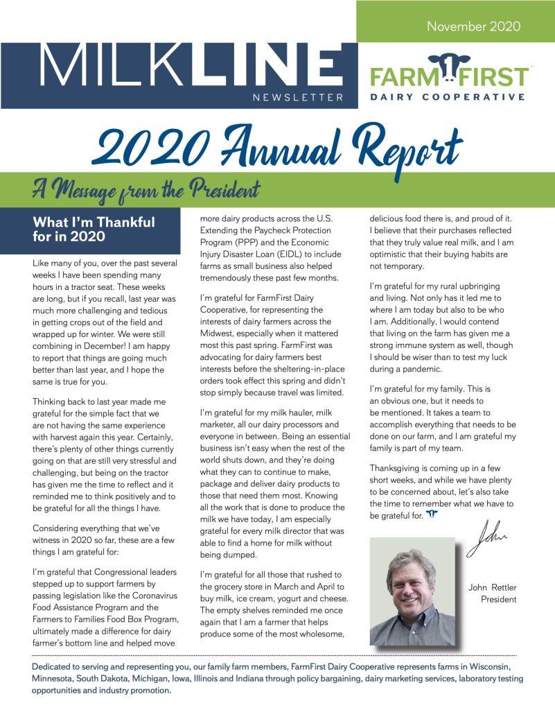 November 2020 MilkLine Newsletter