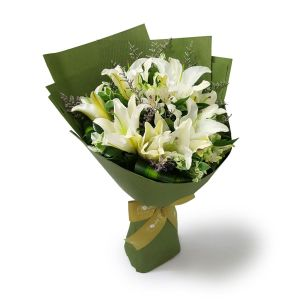 Insigne 10 white lilies by farm florist singapore