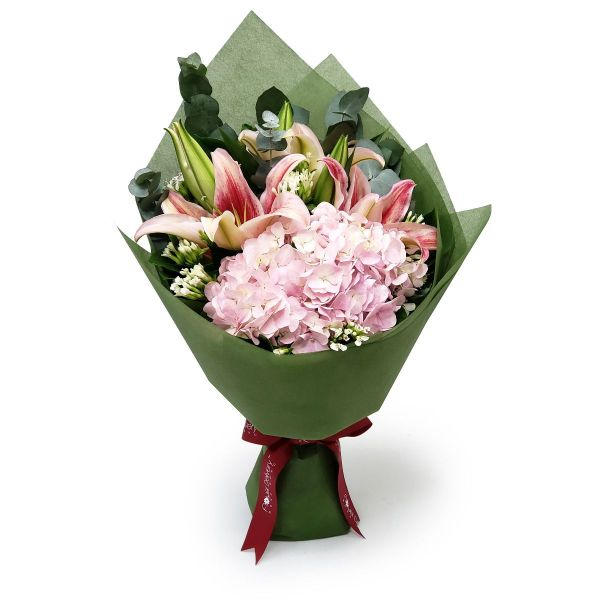affinity 6 pink lilies and pink hydrangea by farm florist singapore