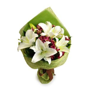 danielle 6 white lily bouquet