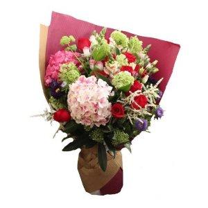 grandeur 2 hydrangeas 12 red roses by farm florist singapore
