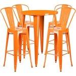 BOWERY-HILL-5-Piece-30-Round-Metal-Patio-Pub-Set-in-Orange-0