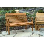 Leisure-Lawns-Amish-Made-Yellow-Pine-Park-Bench-Horiz-Back-Model-520-Ships-Free-Within-2-to-3-Weeks-0-0