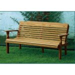Leisure-Lawns-Amish-Made-Yellow-Pine-Park-Bench-Horiz-Back-Model-520-Ships-Free-Within-2-to-3-Weeks-0-1