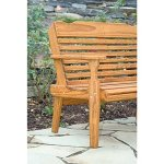 Leisure-Lawns-Amish-Made-Yellow-Pine-Park-Bench-Horiz-Back-Model-520-Ships-Free-Within-2-to-3-Weeks-0-2