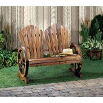 Wooden-Country-Style-Wagon-Two-Seater-with-Wagon-Wheel-Armrests-Outdoor-Bench-0