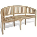 vidaXL-Patio-Garden-Teak-Curved-Banana-Wooden-Bench-Chair-Seat-Outdoor-3-Seater-0