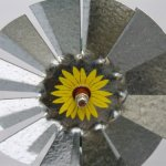 Mini-17-Inch-Made-in-USA-Windmill-galvanized-Steel-Yellow-Brown-Green-Trim-Kansas-Tail-0-0