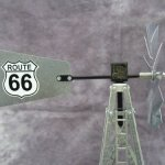 Mini-17-Inch-Made-in-the-USA-Windmill-galvanized-Steel-Black-White-Trim-Route-66-Tail-0-0