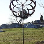 UDL-Flower-Wind-Spinner-Kinetic-Art-Decorative-Garden-Stake-Outdoor-Dual-Motion-Double-Spiral-Metal-Lawn-Ornament-Bronze-Powder-Coated-Yard-Sculpture-0-0
