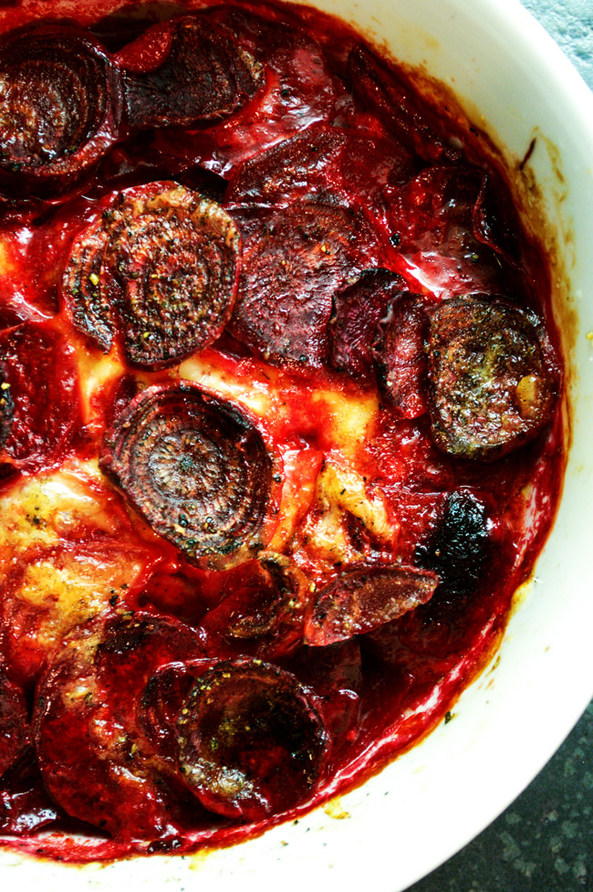 Beetroot Gratin with Fontina & Walnuts | farmgirlgourmet.com
