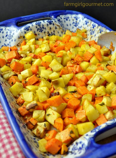 Thyme Roasted Sweet Potatoes Recipe | farmgirlgourmet.com