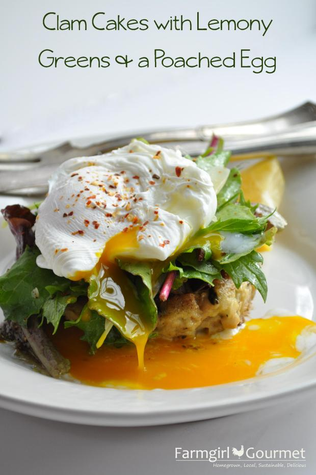 Clam Cakes with Lemony Greens & a Poached Egg