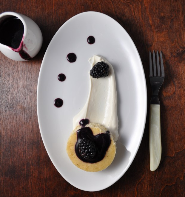Brown Butter Cake with Goat Cheese Cream & Blackberry Sauce - farmgirlgourmet.com