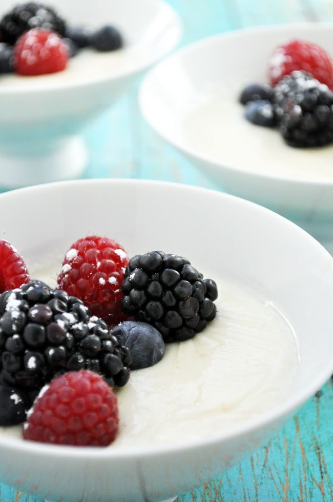 Greek Yogurt Custard with Fresh Berries | farmgirlgourmet.com #lowsugar #lowfat