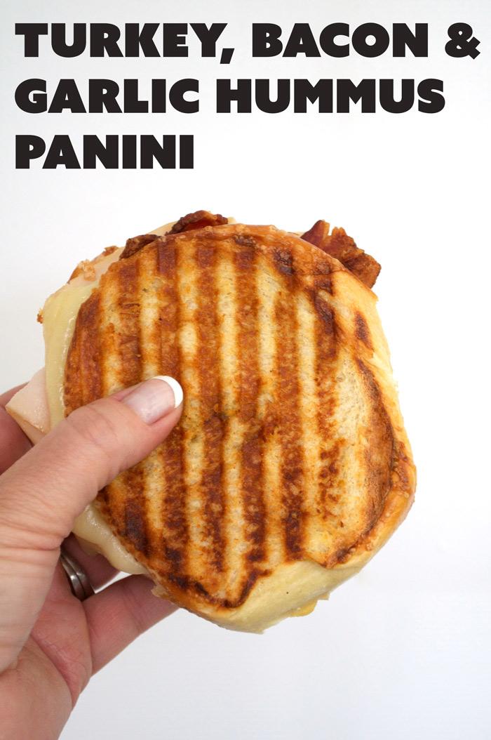 Turkey, Bacon & Garlic Hummus Panini | farmgirlgourmet.com