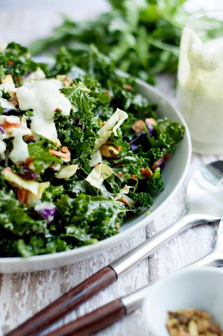 Kale Chopped Salad with Garlic Tarragon Dressing | farmgirlgourmet.com