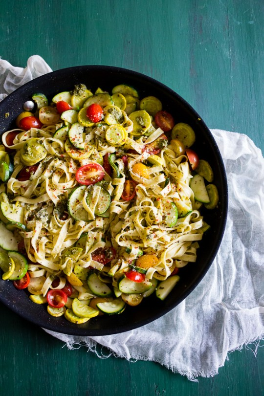 This summer vegetable pesto pasta is the perfect addition to your summer menu. Packed full of fresh garden vegetables, basil pesto and just a pinch of Parmesan cheese.