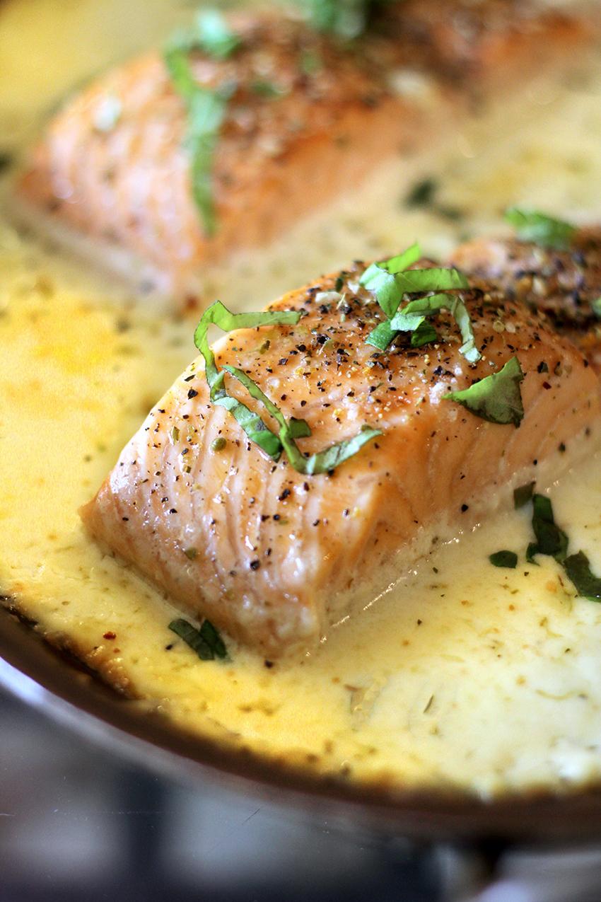 Keto Baked Salmon in Parmesan Cream | farmgirlgourmet.com