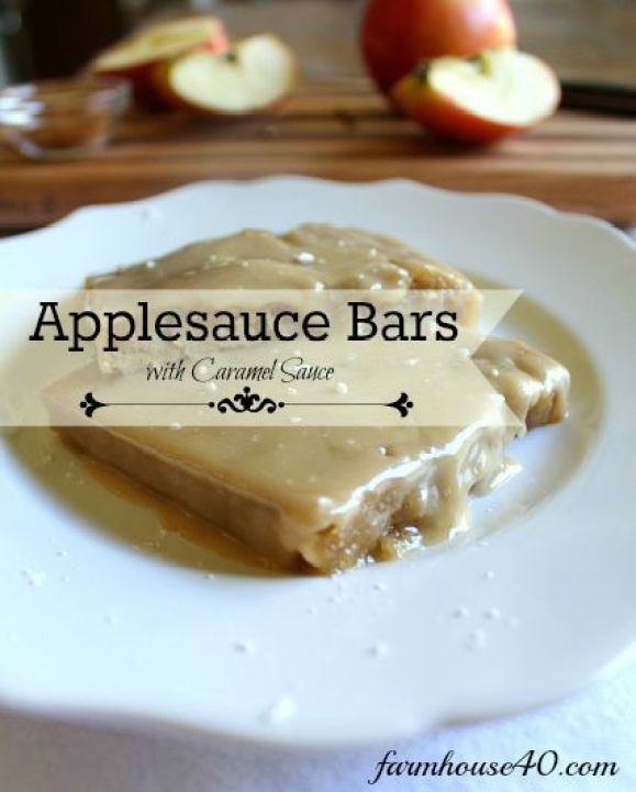 Applesauce bars with caramel frosting so moist it melts in your mouth