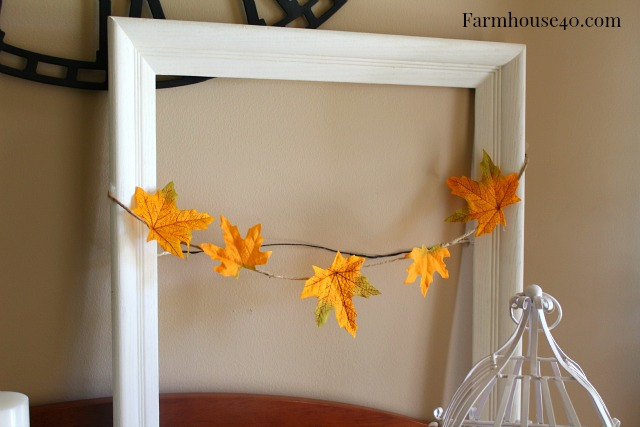 White Picture Frame with Leaf Garland