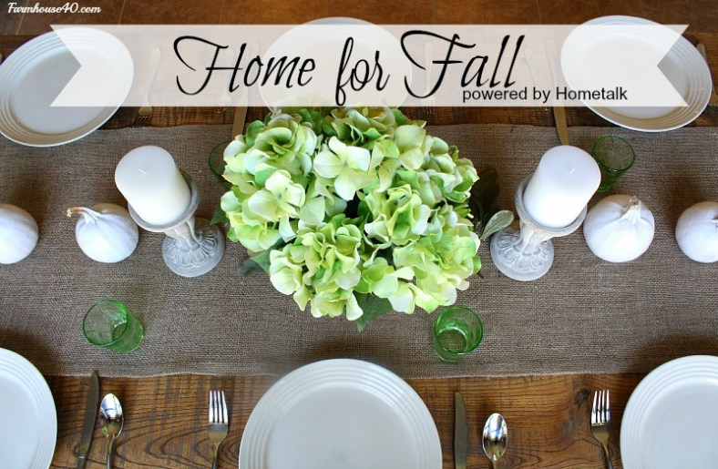 fall farmtable setting candles, with pumpkins