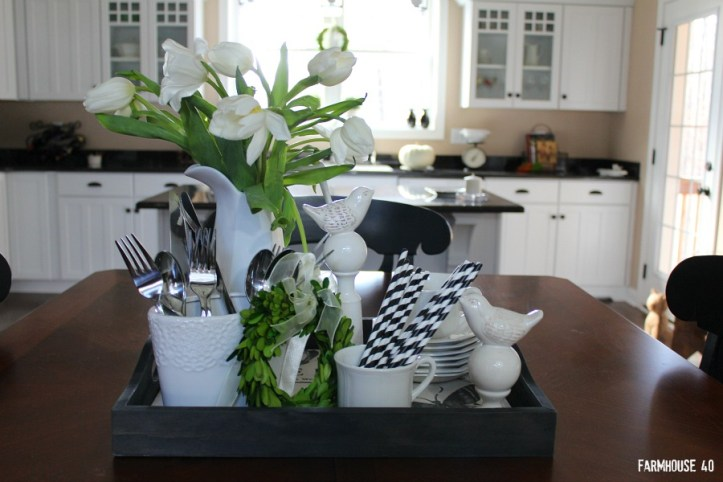 Table vignette in black and white