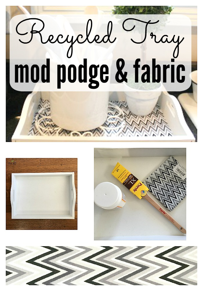 recycled tray mod podge & fabric