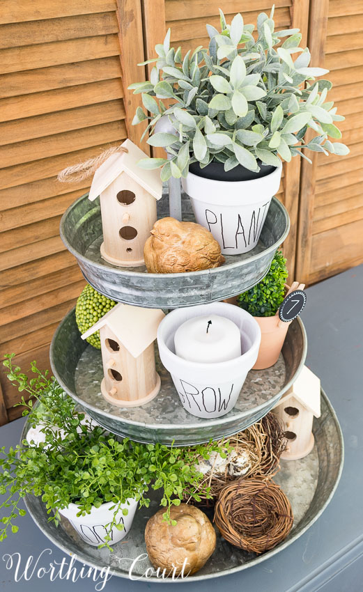 tiered-tray-decorated-for-summer-with-knock-off-rae-dunn-pottery-flower-pots